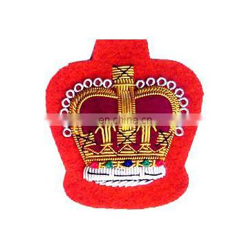 New Style Gold Bullion Wire Embroidery Badge of Embroidered Badges