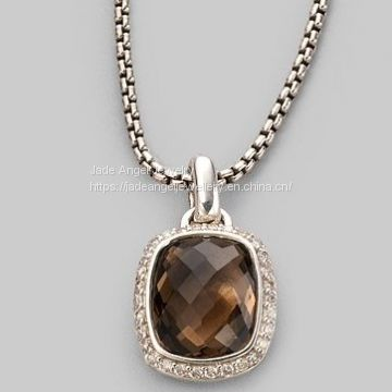 Sterling Silver 925 DY Inspired Smokey Quartz Noblesse Necklace