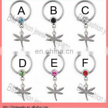 Dangle Dragonfly Captive Bead Ring Stainless Steel Body Piercing