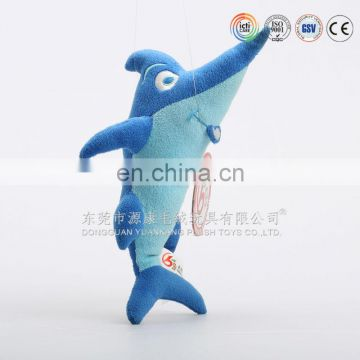 OEM custom plush blue flying shark animal toys stuffed