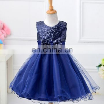 Blue Glitter Bow Party Dress
