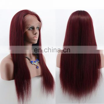 Glueless Silky Straight Lace Front Red Wig Unprocessed Indian Hair Remy Humna Hair Silicone Wig 99J Color With Baby Hair
