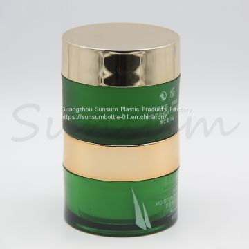 Recycled 50g Green Plastic Cosmetic Double Wall Skin Care Cream Jar with Golden Cap
