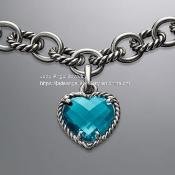 Designer Inspired Sterling Silver DY Cable Heart Blue Topaz Pendant  Charm