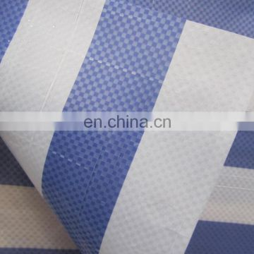 220gsm waterproof blue white stripe color PE tarpaulin for truck cover