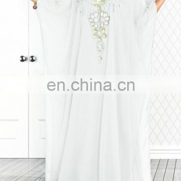 White Style Islamic Arabian Moroccan Kaftan Maxi Dress for women
