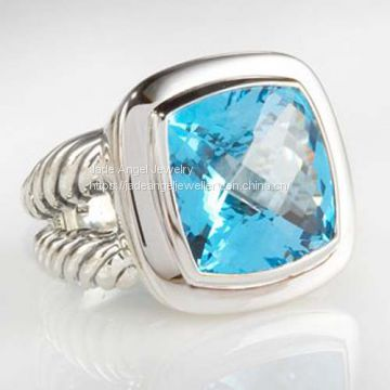 DY Sterling Silver 14mm Blue Topaz Albion Split-Shank Ring for Women