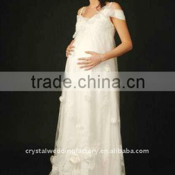 New style lace custom-made floor length maternity wedding dress CWFam1483