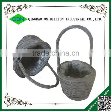 Woven rattan flower basket with handle