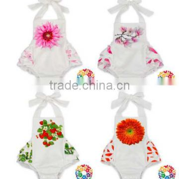 Summer Clothes Baby Girl's Floral Print Ruffles Romper