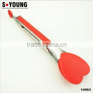 14063 New Heart shape Kitchen and Barbecue Grill Tongs Silicone BBQ Cooking Stainless Steel Locking Food Tong Salad Tongs
