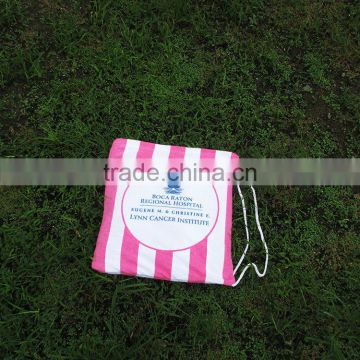 cotton flannel with brush reactive printing customized logo 3 in 1 blanket into tote with carry bag beach blanket