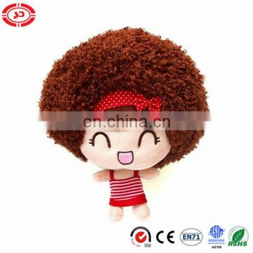Cute smiling mini girl doll big head fluffy hair keychain toy