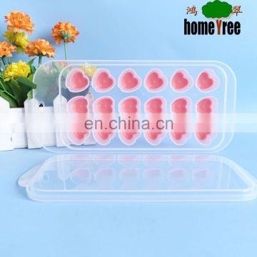 custom heart shape silicone ice cube trays with lid