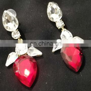 Tiny Droplet Gold Plated Party Wear Earrings Set In Red Color