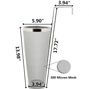 Stainless Steel 300 Micron Mesh Homebrew Hops Beer & Tea Kettle Brew Filter