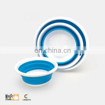 Set of 3 Collapsible Round Plastic wash basin