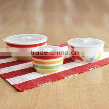 3pcs stoneware mixing bowls with hand painting