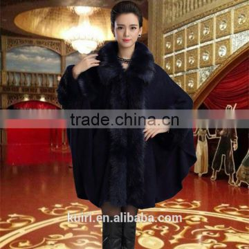 2016 women's wrap beige black pashmina wool knitted fake cashmere shawl with fur trim collar faux fox fur high quality capes