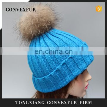 Fashion raccoon fur pom pom hat,knitted beanie pompon hat for sale