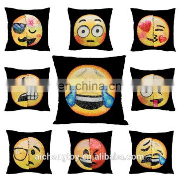 new arrival funny emoji mermaid sequin plush toy pillow for wholesale