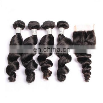 www.alibaba.com wholesale remy virgin brazilian hair weave and closure nature black color body wave human hair
