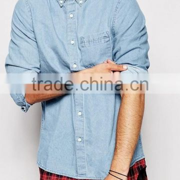 27812c68 2015 Super Longline Denim Shirt With Check Hem designer latest design denim shirts  men italian style shirts casual shirt of Denim/Oxford shirt from China ...