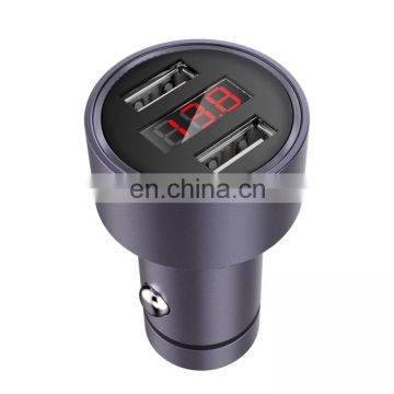 mobile phone C-M215 5V 2.1A Aluminum Alloy Dual USB Ports Smart Car Charger with Micro USB to USB Charger =