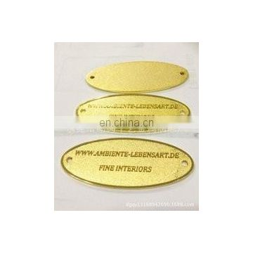 Acid etched stainless steel nameplates with engraved logo