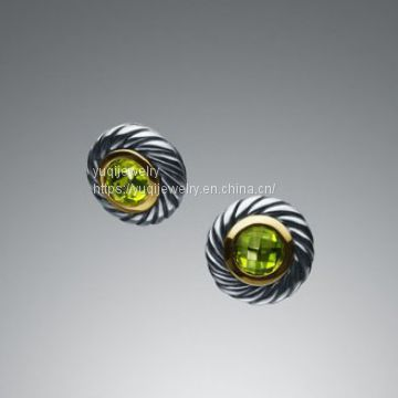 Gold Plated Sterling Silver Peridot Color Classics Earrings(E-020)