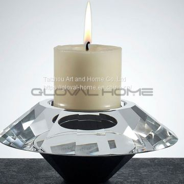 Various Size Shining Crystal Candle Holder Glass Candlestick For Wedding