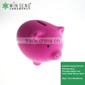Porcelain Matte Pink Color Small Piggy Bank WS1043-24101