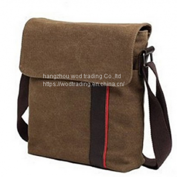 waxed canvas messenger bag with long shoulder
