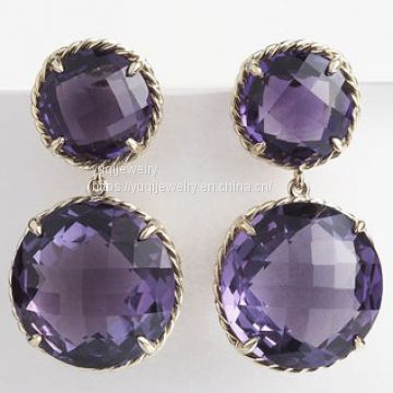 Sterling Silver Jewelry Two-Drop Amethyst Chatelaine Earrings(E-039)
