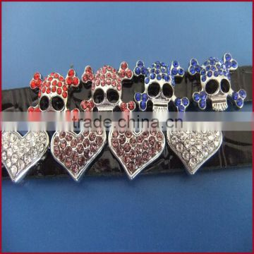 10mm Rhinestone Heart Zinc Alloy Slide Charms Manufacturers selling DIY personalized handbags Jewelry Accessories