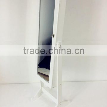 Hot Euro style mirrored cabinet for jewelry with LED lights, floor standing MDF jewel mirror