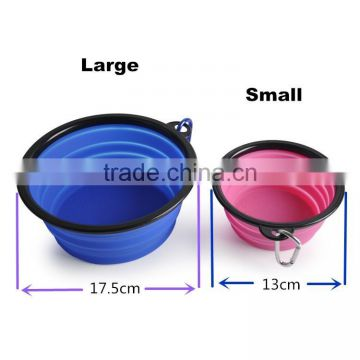 Personalized Portable silicone collapsible pet rubber dog bowl