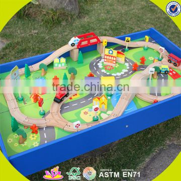 Wholesale arrival wooden railway train toy fashion wooden railway train set roller coaster track table toy W04C009A