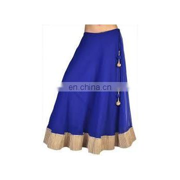 Indian Georgette Blue Gotta Patti Lehenga Skirt For Navratri With Tassel Gyspy Bohemian Belly Dance Hippie Boho Skirts wholesale