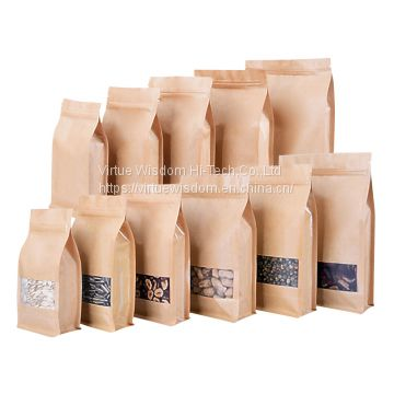 High quality resealable zipper lock kraft paper eight side gusset flat bottom pouch with pvc window
