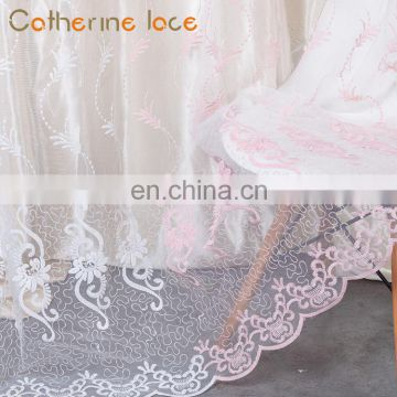 Catherine Manufacturer Cheap Window Embroidery Mesh Fabric Continuous Lace Curtains
