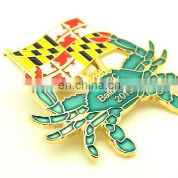 Factory Price HIGH QUALITY CRAB ANIMAL SOFT ENAMEL GOLD PIN BADGE