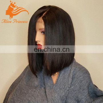 lace front wig glueless full lace wigs 100% brazilian virgin hair straight bob wig with bangs free shipping