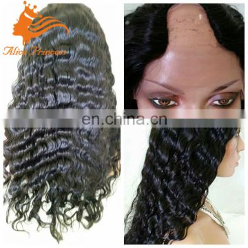 brazilian human hair u part full lace wigs deep wave middle part u part human hair wig