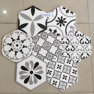Black White 300X260MM Floor and Wall Hexagon Tile