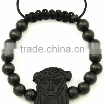 Jesus New Natural Good Wood Style Bracelet Adjustable Macrame With 10mm Beads