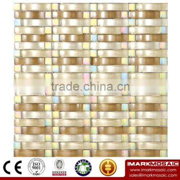 IMARK Mixed Color Mosaic with Crystal Glass Mosaic Tiles Mix Marble Mosaic Tiles(IXGM8-022)
