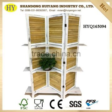 Antique look wood and bamboo room divider decorative screen
