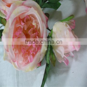 SJ20170008 pink peach artificial silk flower rose bud