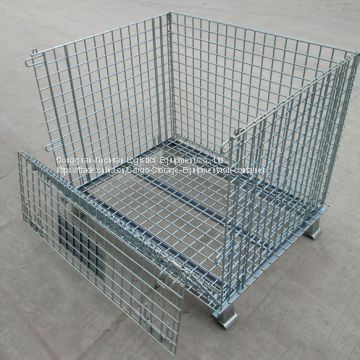 Industrial Wire Mesh Container Stackable Storage With Wheels